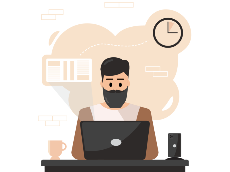Do the small task now laptop coffee productive tasks home office work vector project fight procrastination procrastination design home work home office work office worker illustrator illustration flat character design character