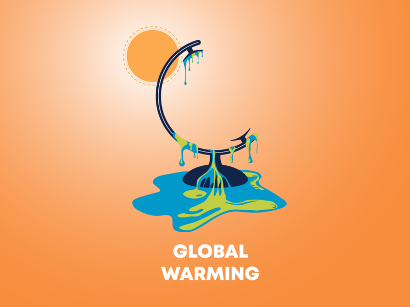 Global Warming graphic design sun globe vector flat poster design poster global warming illustration illustrator