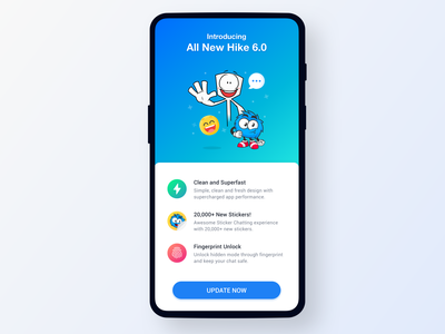 All New Hike 6.0 - Sticker Chat update upgrade new app chat app android sticker ios interaction branding illustration sketch indian design card messenger visual hike ux ui app