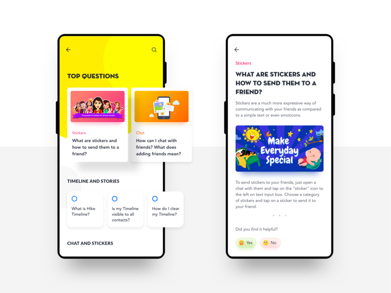 FAQ exploration for Hike Messenger simple clean interface typography chat chat app ios android sticker sketch indian design card messenger interaction visual hike ux ui app frequently asked questions faq