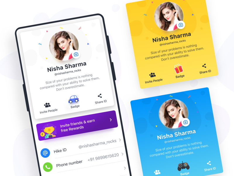 User Profile Cards - Hike Sticker Chat sticker chat android indian ux ui ios sketch card design messenger visual interaction profile screen profile design profile card user profile profile page profile hike