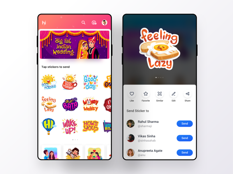 Sticker Sharing from All New Hike Sticker Shop sketch card sticker ios design love clean design cool expression shop sharing chat app stickers indian messenger interaction visual ux ui hike