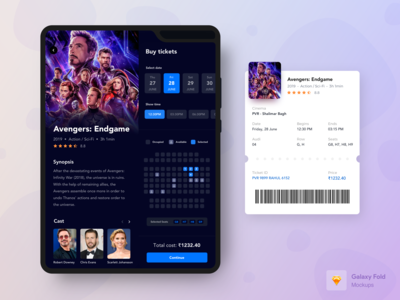 Movie Booking App for Samsung Galaxy Fold - Dark mode