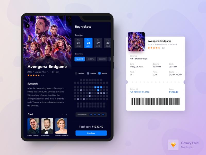 Movie Booking App for Samsung Galaxy Fold - Dark mode by