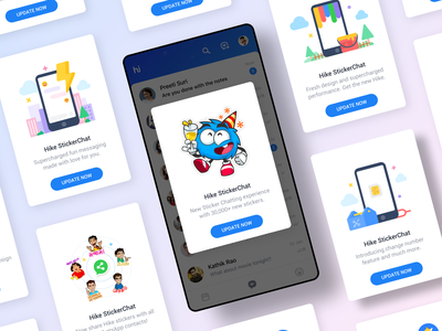 App Update Popups - Hike Sticker Chat chat app chat animation sticker android sketch indian card messenger design interaction hike visual ux ui ios application app update update app