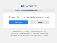 New Connect app page for GoCardless