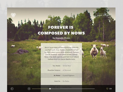 Songs and Goats Playlist music playlist player minimal personal wip unsplash