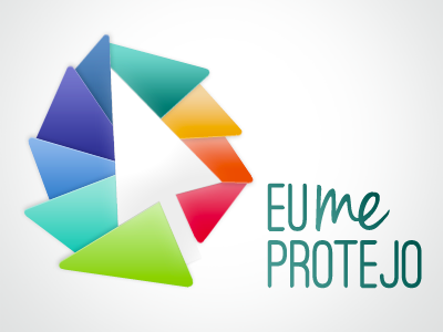 Eu Me Protejo Logo logo logotype cursor color rainbow positive negative positive-negative icon protection