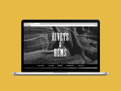 Rivets & Hems typography experimental digital uiux one page longscroll interactive graphic design web design design web