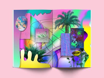 Reality vs. Virtual Reality Zine SE Co. Spread design graphic design experimental neon gradient print digital zine collaboration virtual reality vr