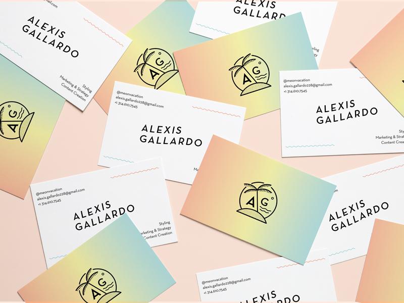 Alexis Gallardo Branding & Biz Cards chill beach palm tree kansas city gradient graphic design business cards collateral identity branding
