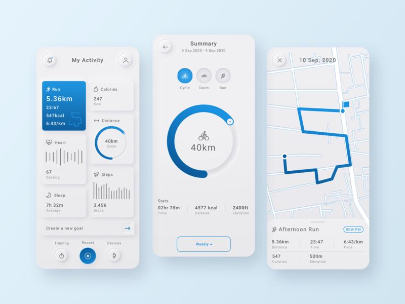Training App - Neumorphism uiux ui design training skeumorphism skeumorphic neumorphic neumorphism minimalistic iphone interfaces ios interface app design app