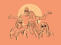 Friends retro procreate quarentine illustration friendship friends