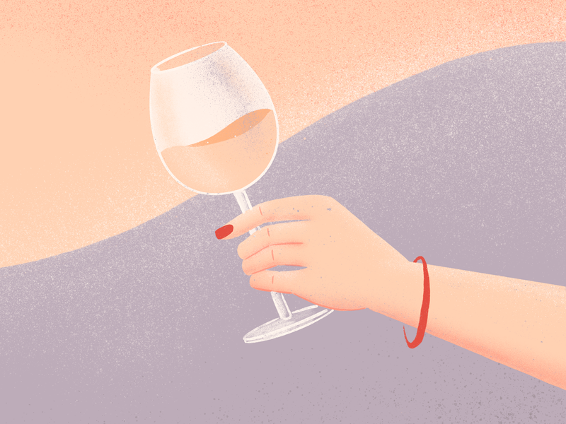 Drinking good wine procreate drink hand wine illustration