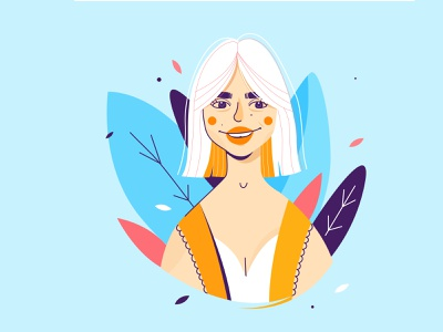 Portrait of whitehair girl portrait design portrait young female bold colors vector flat characterdesign characters colorful design illustration 2d