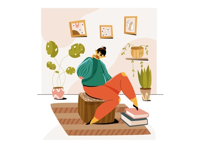 The girl sitting with coffee 2d character flat illustration characters illustration female design characterdesign vector flat 2d