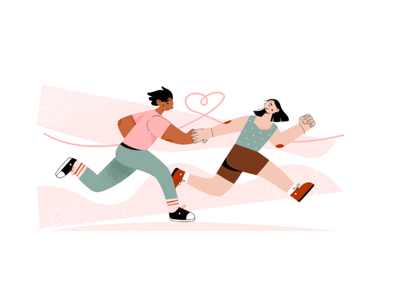 Boy and girl in love flat 2d illustration