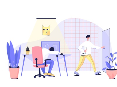 hard workers in office characters office worker flat illustration vector 2d