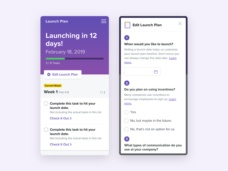Launch Plan To Do List - Mobile responsive design mobile checklist tag to do list tasks rocket countdown progress timeline list cards