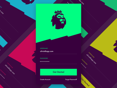 Premier League sign in design mobile ux ui android ios brand login sign up sign in soccer premier league