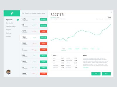 Robinhood Web App Concept (Light) dashboard application app web ui ux design trading stocks robinhood