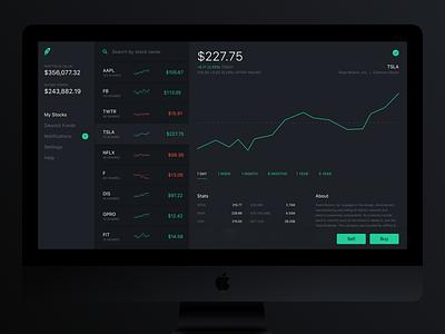Robinhood Web Concept V2 graph data web concept search ux ui dashboard app stock trade robinhood