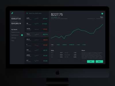 Robinhood Web Concept V2 graph data web concept search ux ui dashboard app stock trade robinhood