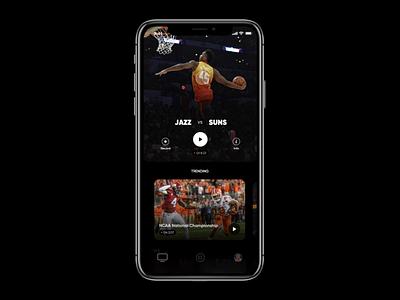 Mock Prototype swipe tab dribbble watch vido flow animation ux ui nba jazz utah basketball ios app principle prototype mock up mock