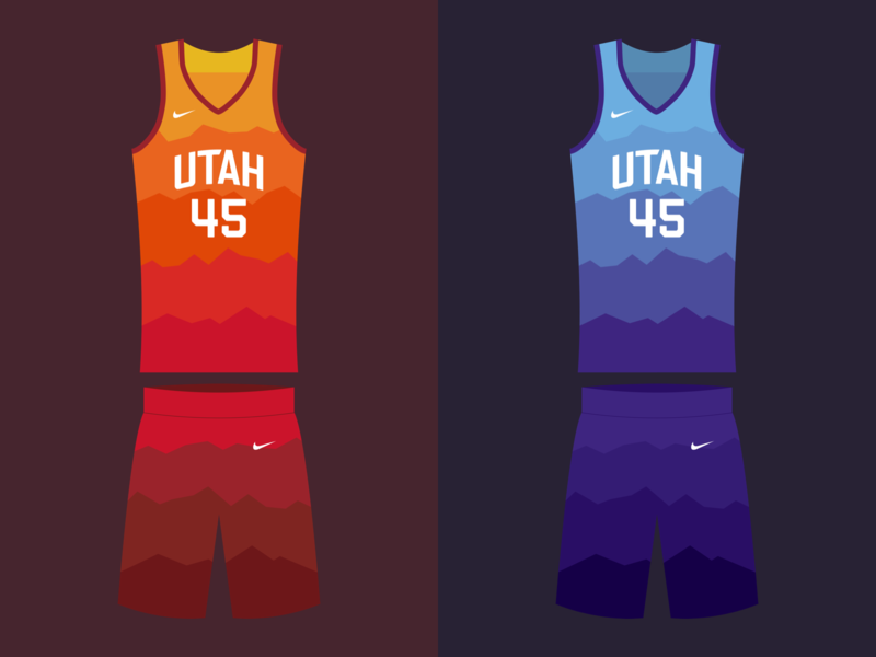 Jazzy playoff drawing design sketch illustration mountains vector gradient color color gradient dunk basketball nike jersey uniform donovan mitchell utah jazz utah jazz