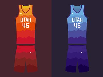 Jazzy playoff drawing design sketch illustration mountains vector gradient color color gradient dunk basketball nike jersey uniform donovan mitchell utah jazz utah jazz