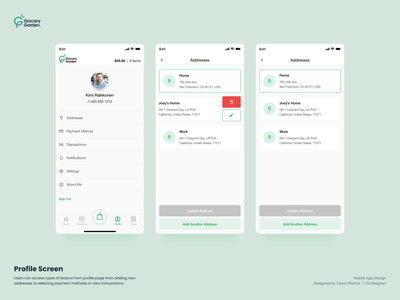 Grocery App Design - Profile bangladesh dhaka mobile design ios android presentation design grocery ux grocery app user interface user experience app design ui ux