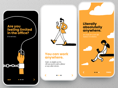 Onboarding with illustrations clean work step walkthrough onboarding mobile illustrations illustration