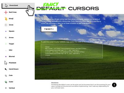 Fancy Custom Cursors arrow pointer cursors custom cursor minimal brutalist webflow