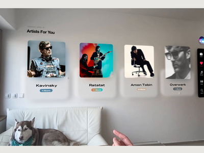 AR Music Player on Wall hand gesture ui neomorphism player reality augmented mr vr ar