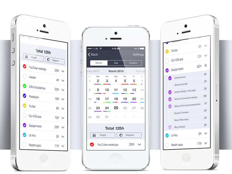 Time reporting app  app ios calendar free psd reporting project feebie ui application clean minimal