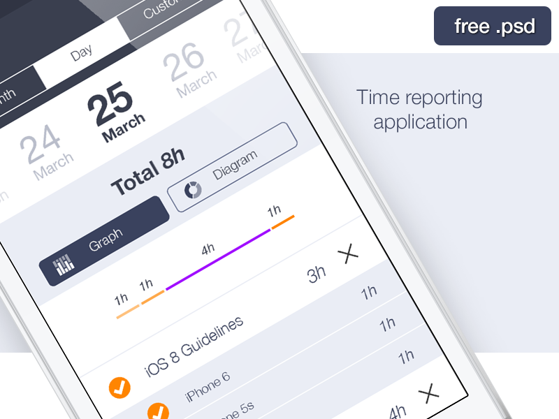 Time reporting application ui app mobile ios date day calendar graph iphone free psd freebie