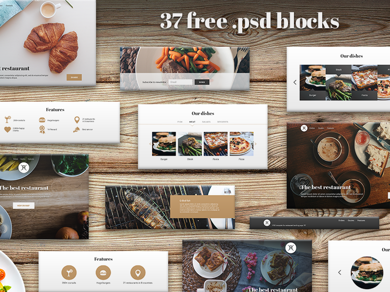 37 free .psd blocks for landing page for restaurant kit psd free landing freebie site page restaurant food call to action ui template