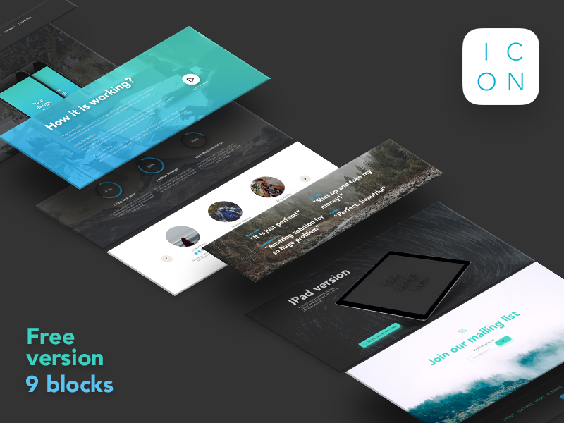 Free version of ICON psd landing page template mobile app application free freebie ios ui