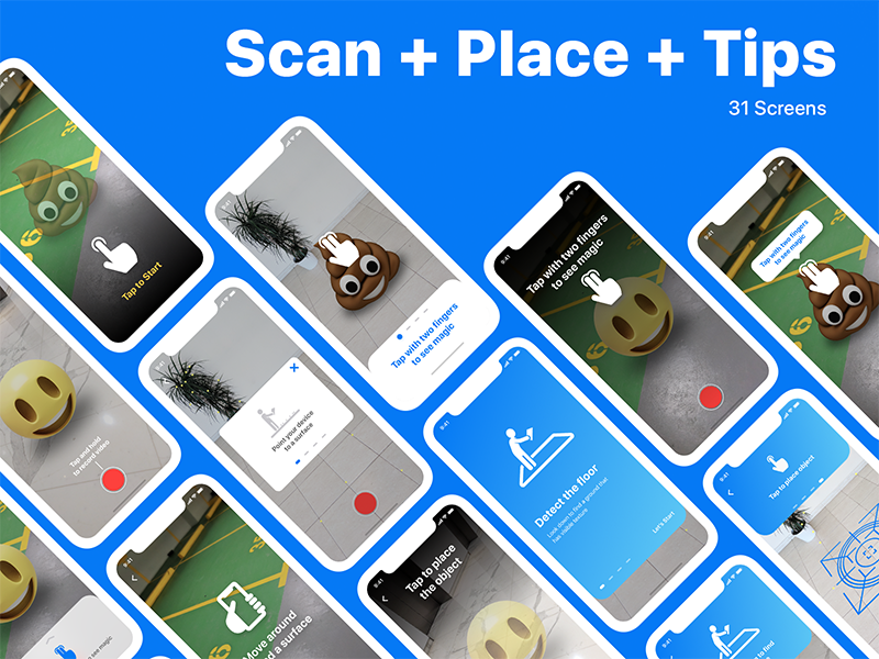 Place UI Kit - Scan + Place + Tips place scan augmented mobile uikit ios arkit augmented reality ar