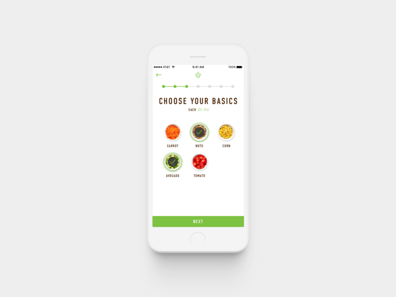 Sumo Salad / Customize Your Salad ux ui product design design app