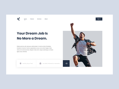Job finding agency - Home page job board happiness xd figma photo photoshop design web ui ux journey jobs font poppins grey blue work success dream job