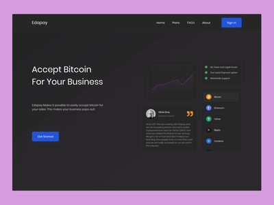 Edapay Homepage minimalist minimalism typography ux ui webdesign popular pink figma color black blue ethereum beauty poppins minimal crypto business cryptocurrency bitcoin