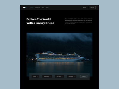 Cruisers ui figma colorsandfonts poppins creative psychology colors blue light black luxury river water sea travel agency travel ship cruise ship cruise