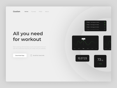 Coution website - Version 1 digital spot illustration design illustration minimal beauty typography font sports figma numbers whitespace white grey chart analytics body gym popular sport