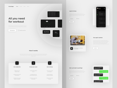 Coution website - Version 2 sports simple horizon gym typography ux ui web minimalism minimal sketch mobile art design app design top popular app sport figma