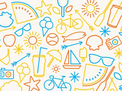 It's summer now. summer icons iconography illustration