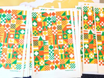 da final 3 color risograph print  risograph typography pattern geometric blocks
