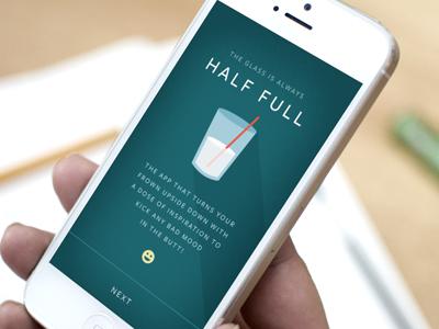 Glass is always half full illustration iphone app ios flat icon milk design