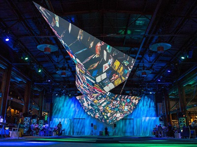 Not your normal projection screen... f8 facebook projection design 3d mapping experience event design