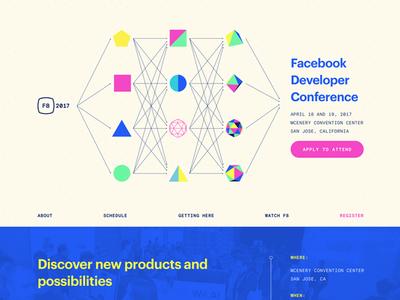 F8 2017 Developer Conference color geometric conference event design website design branding